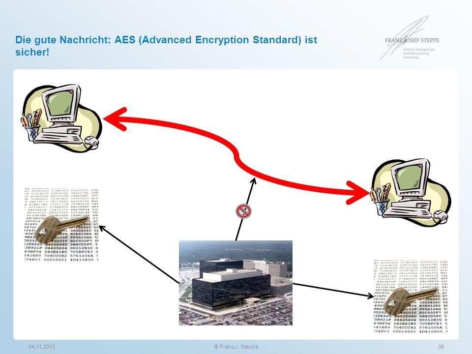 Die gute Nachricht: AES (Advanced Encryption Standard) ist sicher! 04.11.201335© Franz J. Steppe
