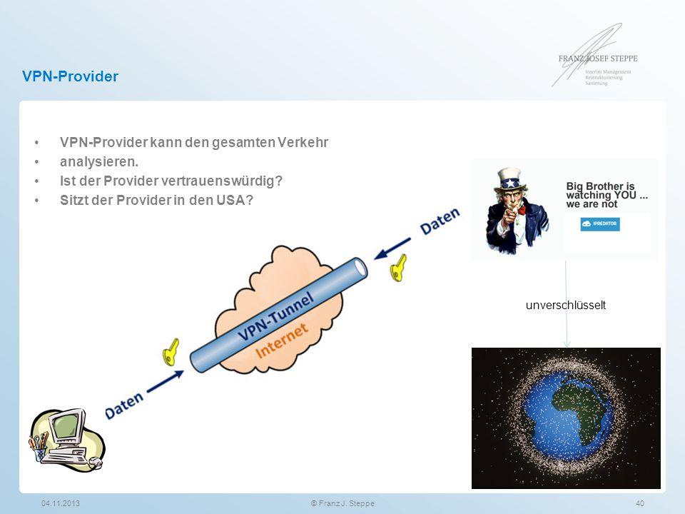 VPN-Provider VPN-Provider kann den gesamten Verkehr analysieren. Ist der Provider vertrauenswürdig? Sitzt der Provider in den USA? 04.11.2013© Franz J