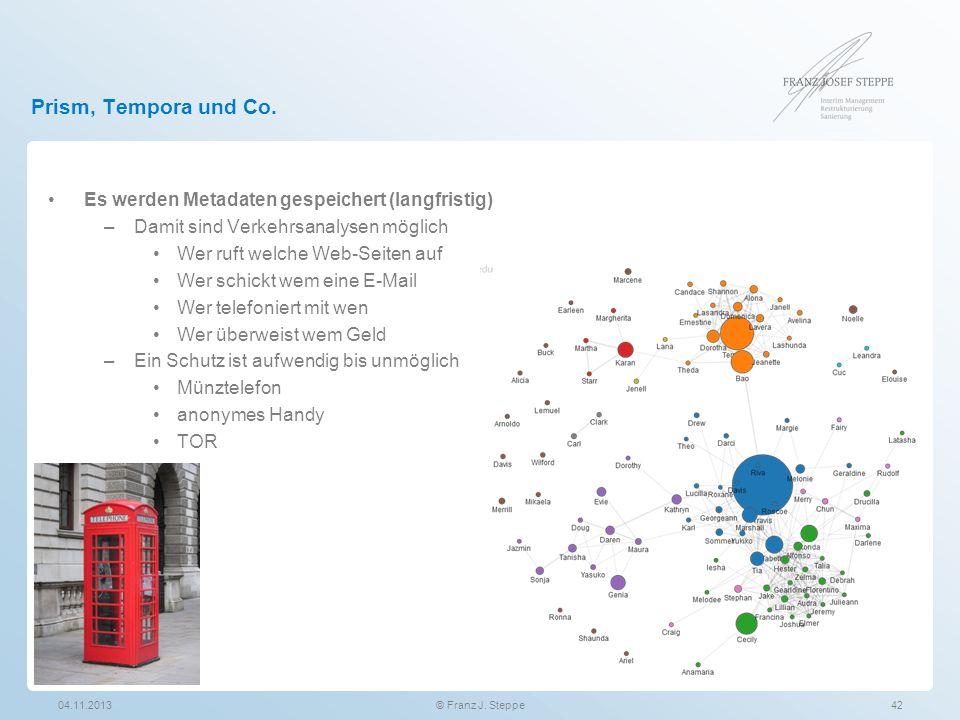 Prism, Tempora und Co. Es werden Metadaten gespeichert (langfristig) –Damit sind Verkehrsanalysen möglich Wer ruft welche Web-Seiten auf Wer schickt w