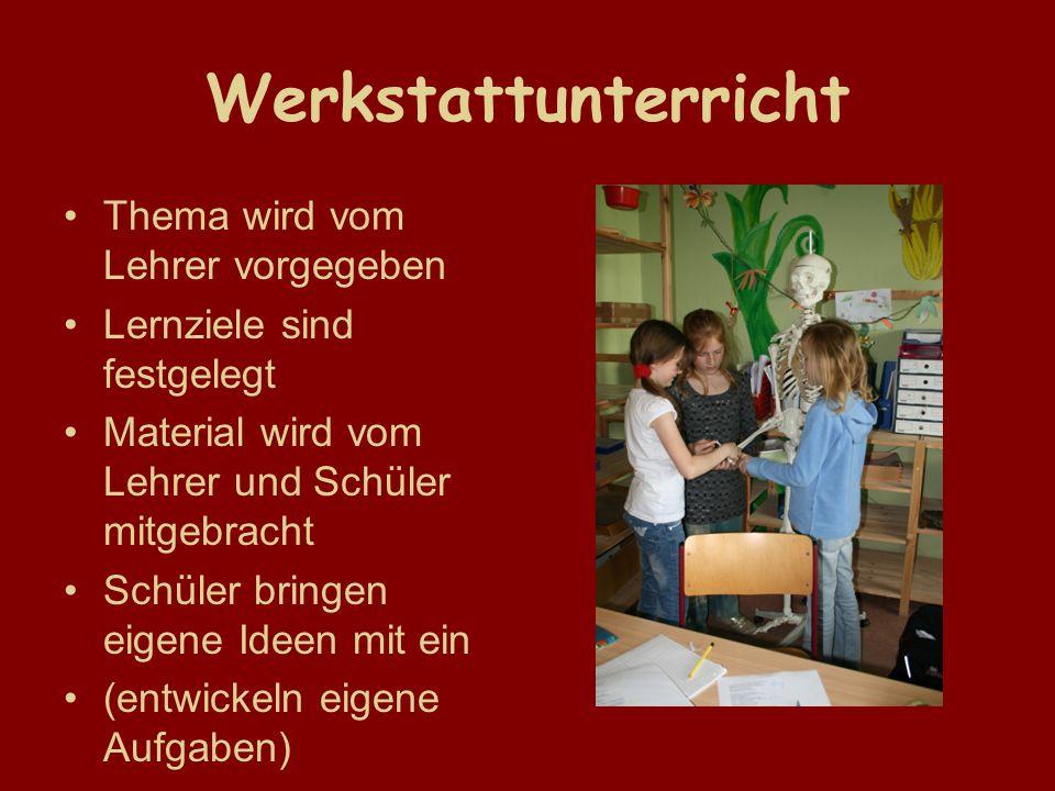 Werkstattunterricht Thema wird vom Lehrer vorgegeben Lernziele sind festgelegt Material wird vom Lehrer und Schüler mitgebracht Schüler bringen eigene Ideen mit ein (entwickeln eigene Aufgaben)