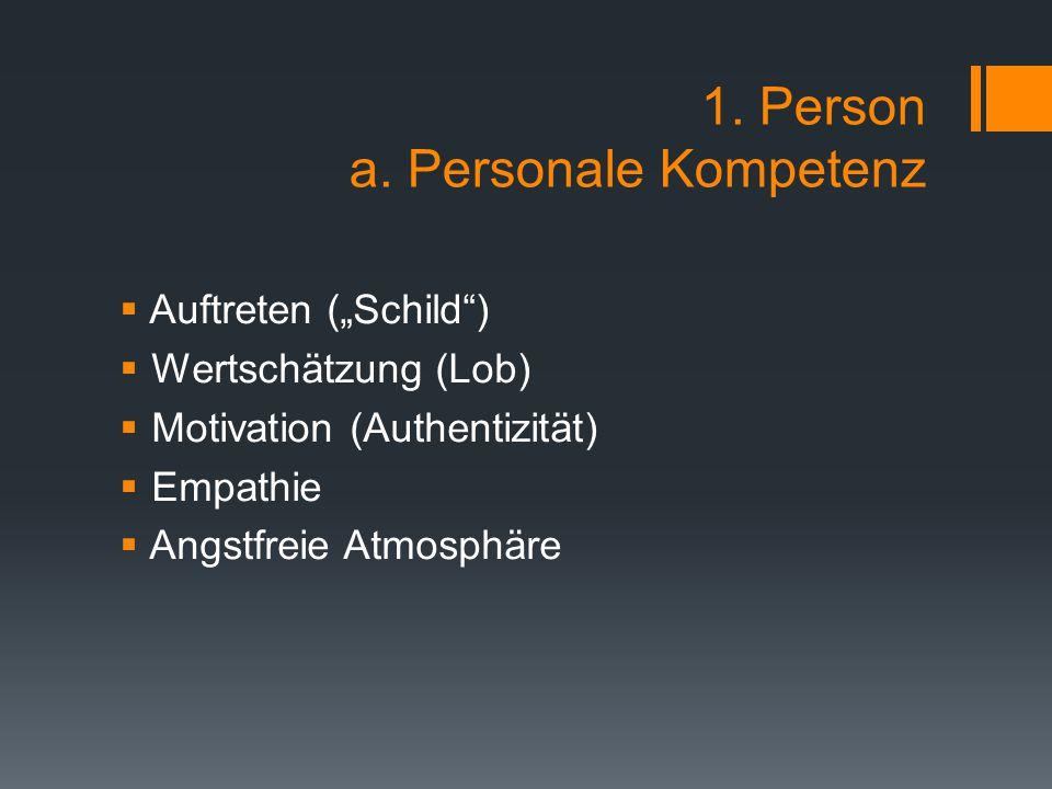 """1. Person a. Personale Kompetenz  Auftreten (""""Schild"""")  Wertschätzung (Lob)  Motivation (Authentizität)  Empathie  Angstfreie Atmosphäre"""