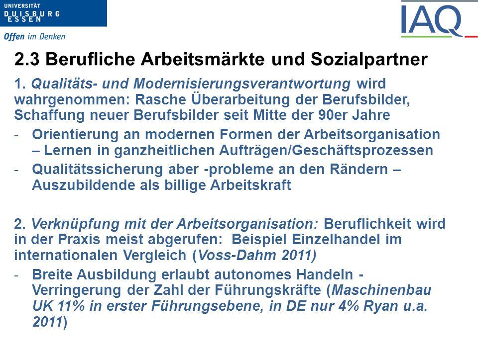 2.4 Berufliche Arbeitsmärkte und Sozialpartner 3.