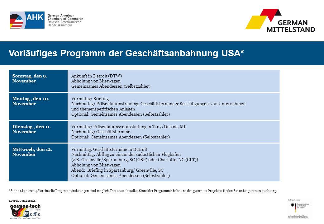 * Stand: Juni 2014. Vereinzelte Programmänderungen sind möglich.