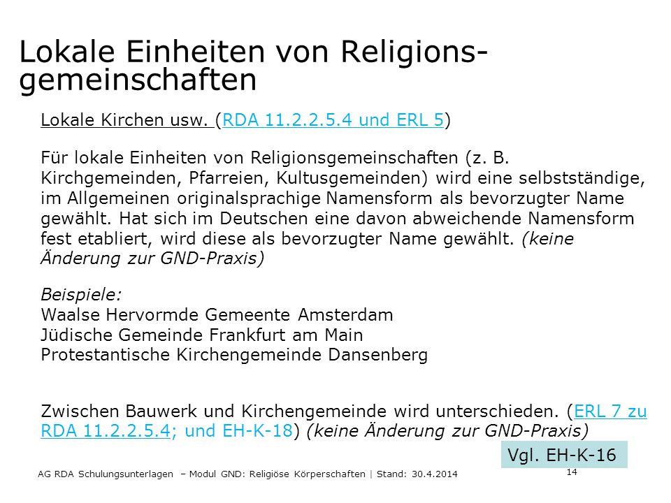 Lokale Einheiten von Religions- gemeinschaften AG RDA Schulungsunterlagen – Modul GND: Religiöse Körperschaften | Stand: 30.4.2014 Lokale Kirchen usw.