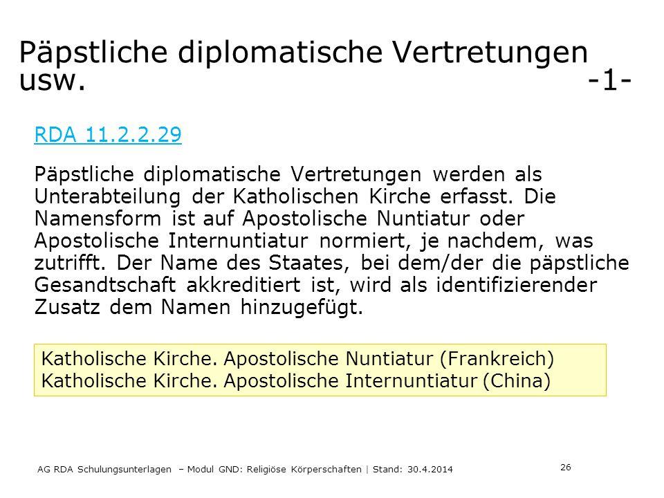 Päpstliche diplomatische Vertretungen usw.
