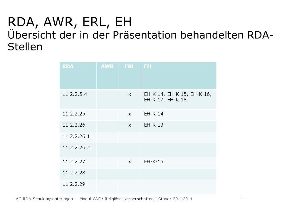 RDA, AWR, ERL, EH Übersicht der in der Präsentation behandelten RDA- Stellen RDAAWRERLEH 11.2.2.5.4xEH-K-14, EH-K-15, EH-K-16, EH-K-17, EH-K-18 11.2.2.25xEH-K-14 11.2.2.26xEH-K-13 11.2.2.26.1 11.2.2.26.2 11.2.2.27xEH-K-15 11.2.2.28 11.2.2.29 AG RDA Schulungsunterlagen – Modul GND: Religiöse Körperschaften | Stand: 30.4.2014 3
