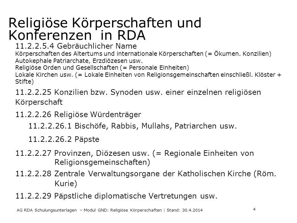 Religiöse Körperschaften und Konferenzen in RDA AG RDA Schulungsunterlagen – Modul GND: Religiöse Körperschaften | Stand: 30.4.2014 11.2.2.5.4 Gebräuchlicher Name Körperschaften des Altertums und internationale Körperschaften (= Ökumen.