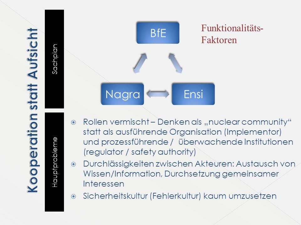 """Sachplan Hauptprobleme BfEEnsiNagra  Rollen vermischt – Denken als """"nuclear community"""" statt als ausführende Organisation (Implementor) und prozessfü"""