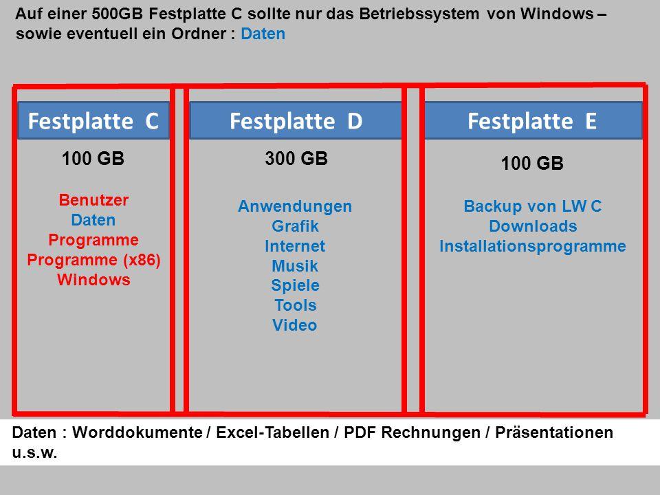 Auf einer 500GB Festplatte C sollte nur das Betriebssystem von Windows – sowie eventuell ein Ordner : Daten Festplatte CFestplatte DFestplatte E 100 GB300 GB 100 GB Daten : Worddokumente / Excel-Tabellen / PDF Rechnungen / Präsentationen u.s.w.