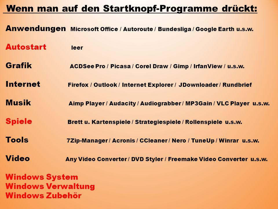 Wenn man auf den Startknopf-Programme drückt: Anwendungen Microsoft Office / Autoroute / Bundesliga / Google Earth u.s.w.