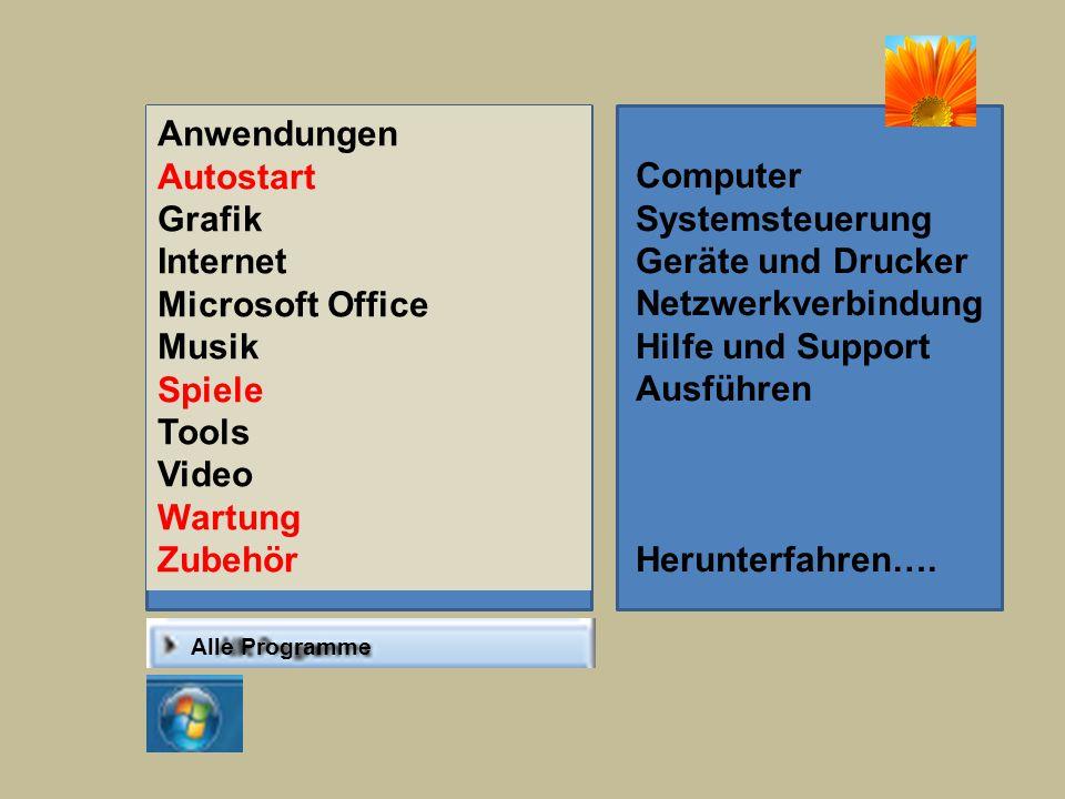 Alle Programme Anwendungen Autostart Grafik Internet Microsoft Office Musik Spiele Tools Video Wartung Zubehör Computer Systemsteuerung Geräte und Drucker Netzwerkverbindung Hilfe und Support Ausführen Herunterfahren….
