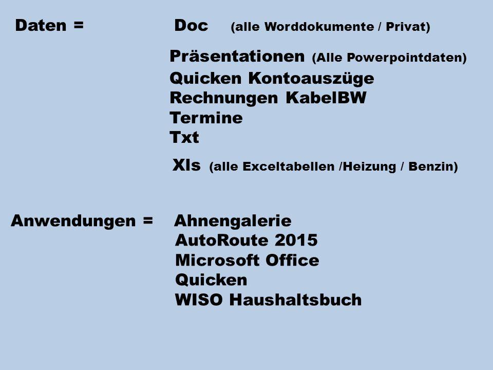 Daten = Doc (alle Worddokumente / Privat) Präsentationen (Alle Powerpointdaten) Quicken Kontoauszüge Rechnungen KabelBW Termine Txt Xls (alle Exceltabellen /Heizung / Benzin) Anwendungen = Ahnengalerie AutoRoute 2015 Microsoft Office Quicken WISO Haushaltsbuch