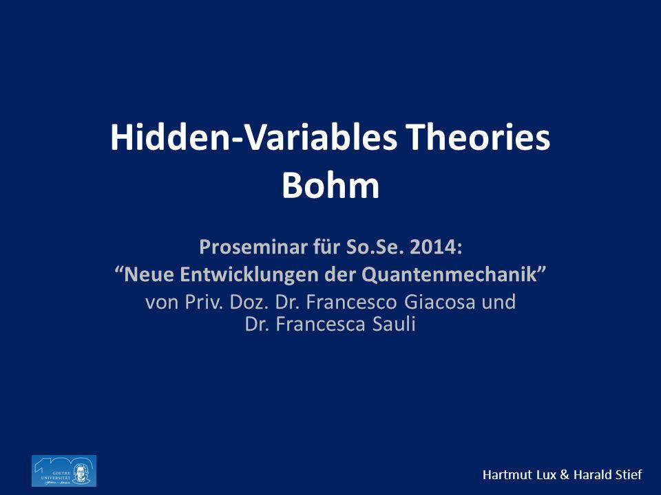 Hidden-Variables Theories Bohm Proseminar für So.Se.