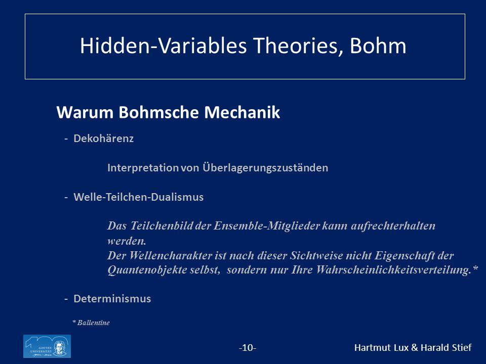 Warum Bohmsche Mechanik -10- Hartmut Lux & Harald Stief - Dekohärenz Interpretation von Überlagerungszuständen -Welle-Teilchen-Dualismus Das Teilchenbild der Ensemble-Mitglieder kann aufrechterhalten werden.