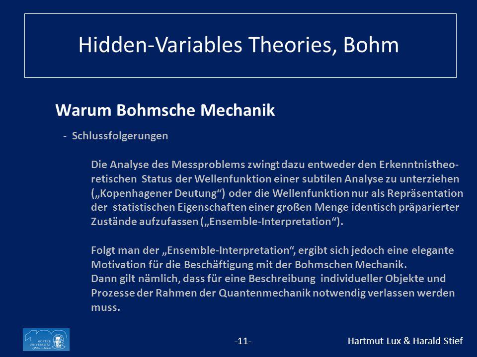 """Warum Bohmsche Mechanik -11- Hartmut Lux & Harald Stief - Schlussfolgerungen Die Analyse des Messproblems zwingt dazu entweder den Erkenntnistheo- retischen Status der Wellenfunktion einer subtilen Analyse zu unterziehen (""""Kopenhagener Deutung ) oder die Wellenfunktion nur als Repräsentation der statistischen Eigenschaften einer großen Menge identisch präparierter Zustände aufzufassen (""""Ensemble-Interpretation )."""