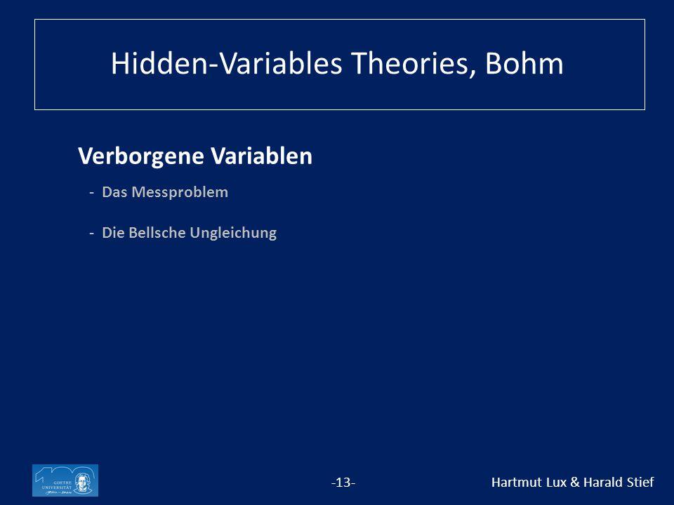Verborgene Variablen -13- Hartmut Lux & Harald Stief - Das Messproblem -Die Bellsche Ungleichung Hidden-Variables Theories, Bohm