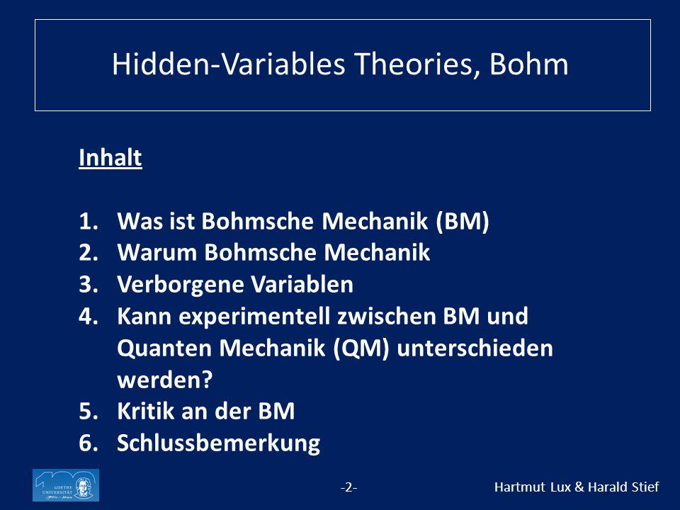 Inhalt 1.Was ist Bohmsche Mechanik (BM) 2.Warum Bohmsche Mechanik 3.Verborgene Variablen 4.Kann experimentell zwischen BM und Quanten Mechanik (QM) unterschieden werden.