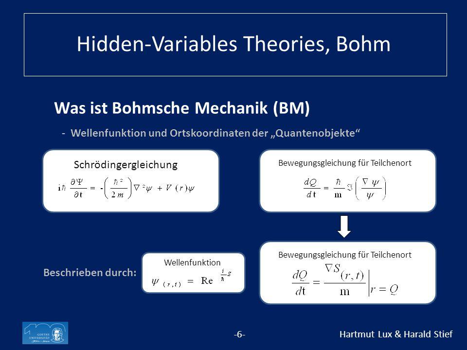 """Was ist Bohmsche Mechanik (BM) -6- Hartmut Lux & Harald Stief - Wellenfunktion und Ortskoordinaten der """"Quantenobjekte Schrödingergleichung Bewegungsgleichung für Teilchenort Wellenfunktion Beschrieben durch: Hidden-Variables Theories, Bohm"""
