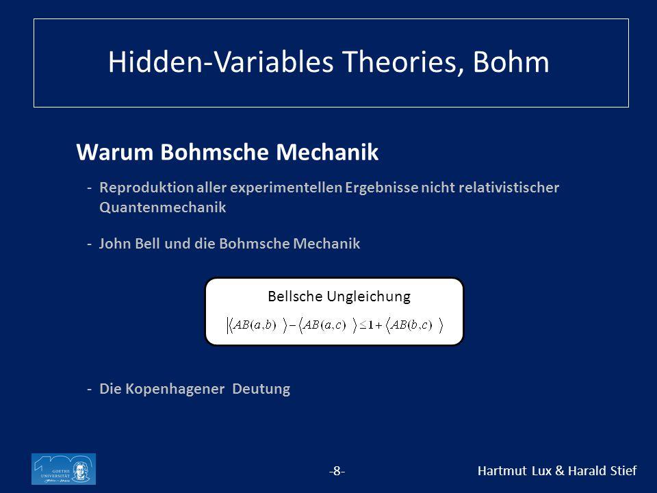 Warum Bohmsche Mechanik -8- Hartmut Lux & Harald Stief - Reproduktion aller experimentellen Ergebnisse nicht relativistischer Quantenmechanik Bellsche Ungleichung Hidden-Variables Theories, Bohm -John Bell und die Bohmsche Mechanik -Die Kopenhagener Deutung