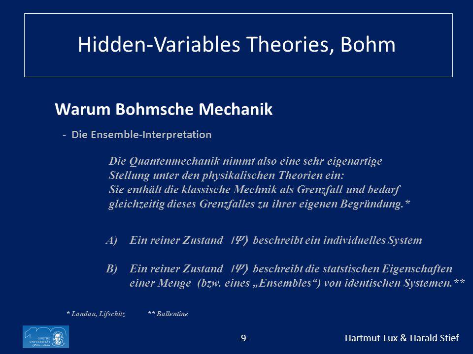 Warum Bohmsche Mechanik -9- Hartmut Lux & Harald Stief * Landau, Lifschitz** Ballentine Hidden-Variables Theories, Bohm A) Ein reiner Zustand ⃓〉 beschreibt ein individuelles System B) Ein reiner Zustand ⃓〉 beschreibt die statstischen Eigenschaften einer Menge (bzw.