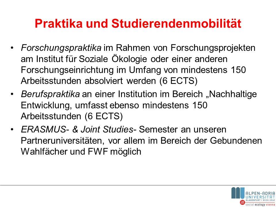 Praktika und Studierendenmobilität Forschungspraktika im Rahmen von Forschungsprojekten am Institut für Soziale Ökologie oder einer anderen Forschungs