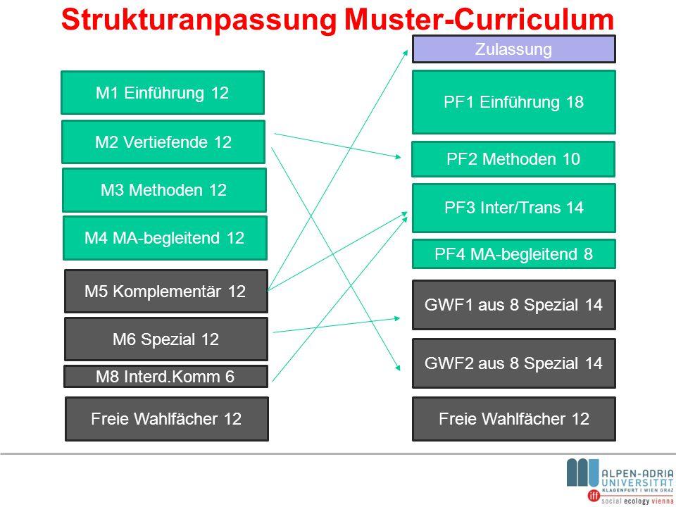 Strukturanpassung Muster-Curriculum M1 Einführung 12 PF1 Einführung 18 M2 Vertiefende 12 M3 Methoden 12 M4 MA-begleitend 12 M5 Komplementär 12 M6 Spez