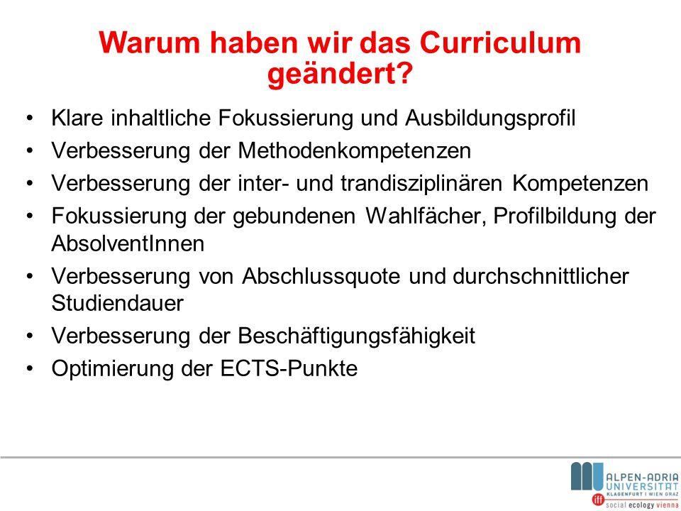 Warum haben wir das Curriculum geändert? Klare inhaltliche Fokussierung und Ausbildungsprofil Verbesserung der Methodenkompetenzen Verbesserung der in