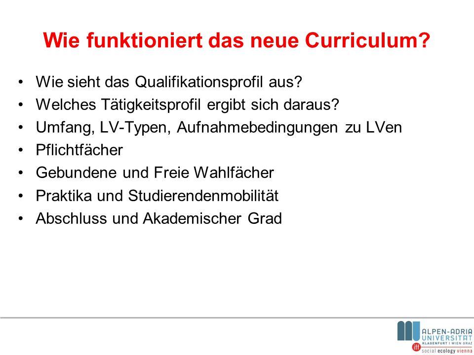 Wie funktioniert das neue Curriculum? Wie sieht das Qualifikationsprofil aus? Welches Tätigkeitsprofil ergibt sich daraus? Umfang, LV-Typen, Aufnahmeb