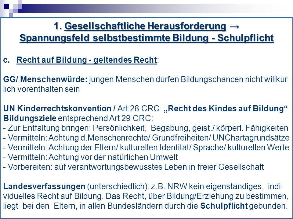 1.Gesellschaftliche Herausforderung → Spannungsfeld selbstbestimmte Bildung – Schulpflicht c.
