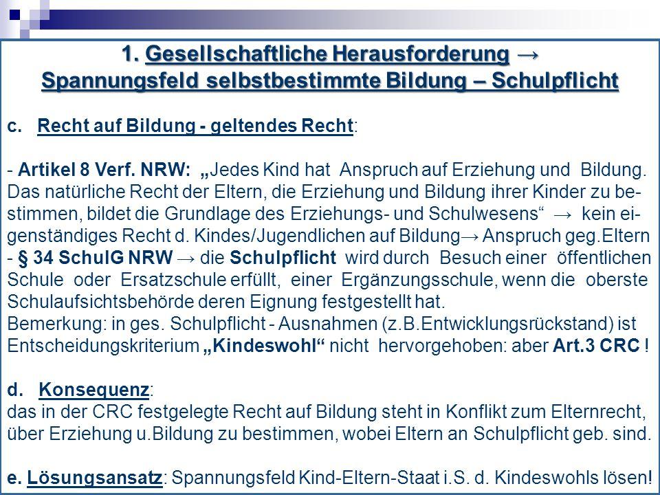 1. Gesellschaftliche Herausforderung → Spannungsfeld selbstbestimmte Bildung – Schulpflicht c. Recht auf Bildung - geltendes Recht: - Artikel 8 Verf.