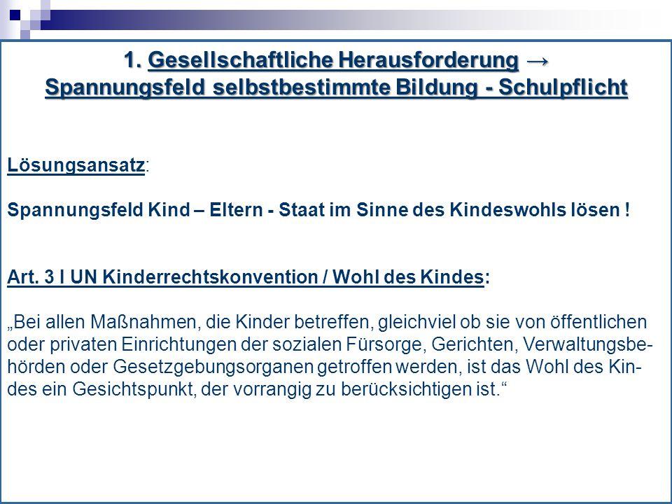1. Gesellschaftliche Herausforderung → Spannungsfeld selbstbestimmte Bildung - Schulpflicht Lösungsansatz: Spannungsfeld Kind – Eltern - Staat im Sinn