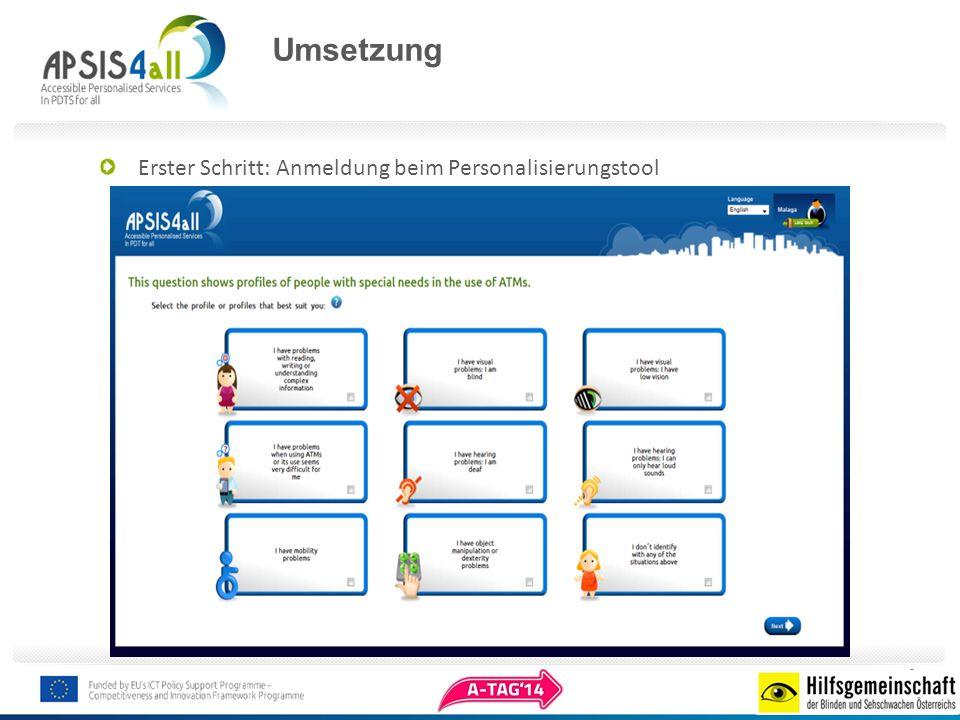 Umsetzung Erster Schritt: Anmeldung beim Personalisierungstool