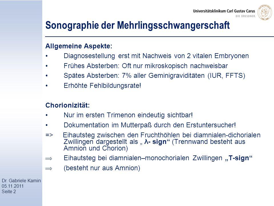 Dr. Gabriele Kamin 05.11.2011 Seite 2 Sonographie der Mehrlingsschwangerschaft Allgemeine Aspekte: Diagnosestellung erst mit Nachweis von 2 vitalen Em