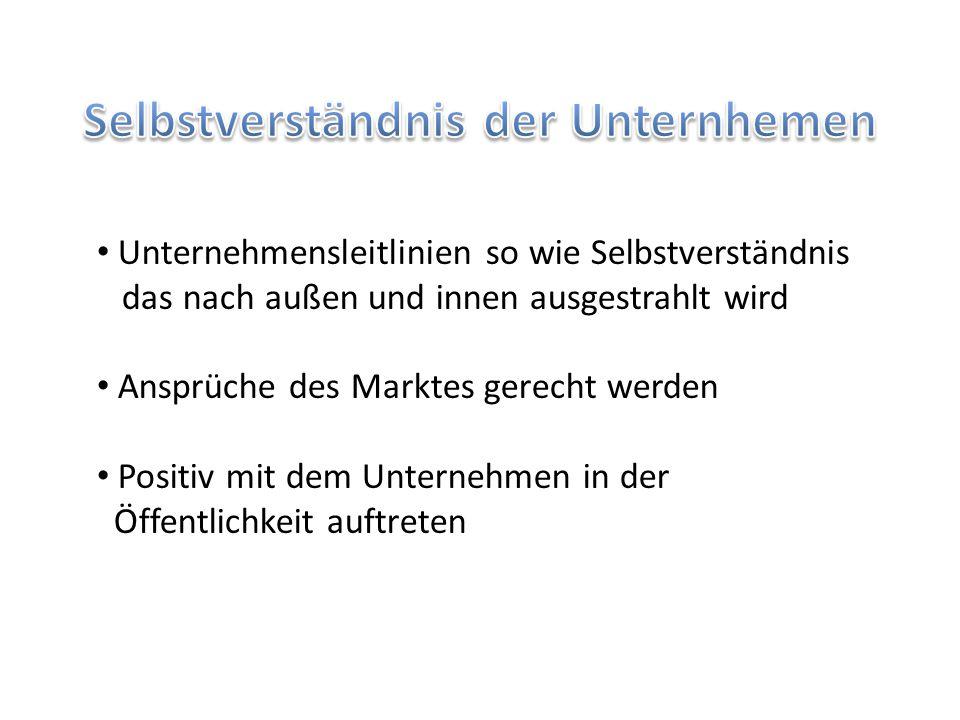 Unternehmensleitlinien so wie Selbstverständnis das nach außen und innen ausgestrahlt wird Ansprüche des Marktes gerecht werden Positiv mit dem Untern