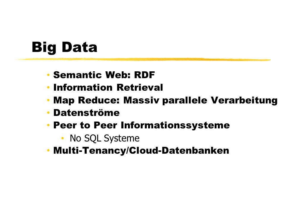 Big Data Semantic Web: RDF Information Retrieval Map Reduce: Massiv parallele Verarbeitung Datenströme Peer to Peer Informationssysteme No SQL Systeme