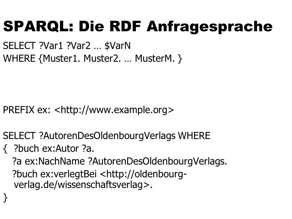 SPARQL: Die RDF Anfragesprache SELECT ?Var1 ?Var2 … $VarN WHERE {Muster1. Muster2. … MusterM. } PREFIX ex: SELECT ?AutorenDesOldenbourgVerlags WHERE {