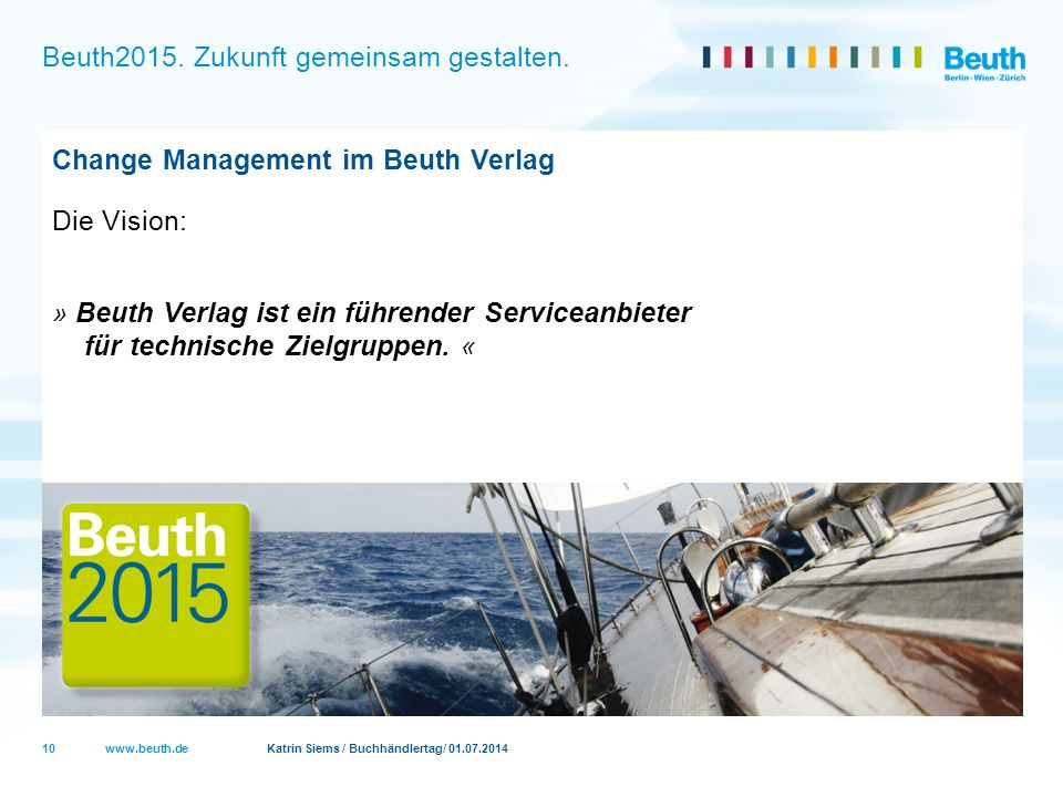 www.beuth.de Katrin Siems / Buchhändlertag/ 01.07.2014 Beuth2015. Zukunft gemeinsam gestalten. Change Management im Beuth Verlag Die Vision: » Beuth V