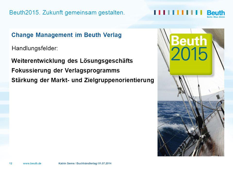 www.beuth.de Katrin Siems / Buchhändlertag/ 01.07.2014 Beuth2015. Zukunft gemeinsam gestalten. Change Management im Beuth Verlag Handlungsfelder: Weit