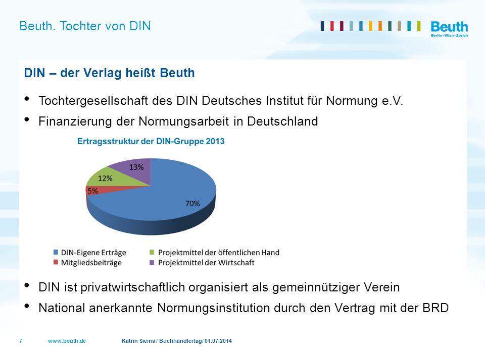 www.beuth.de Katrin Siems / Buchhändlertag/ 01.07.2014 Beuth. Tochter von DIN DIN – der Verlag heißt Beuth Tochtergesellschaft des DIN Deutsches Insti