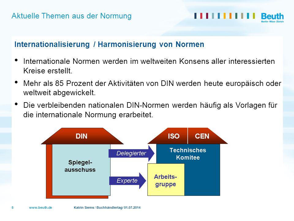 www.beuth.de Katrin Siems / Buchhändlertag/ 01.07.2014 Aktuelle Themen aus der Normung Innovation Rund 8 % des DIN Budgets wird in die Förderung innovativer Normungsfelder investiert Neue Themen, z.B.
