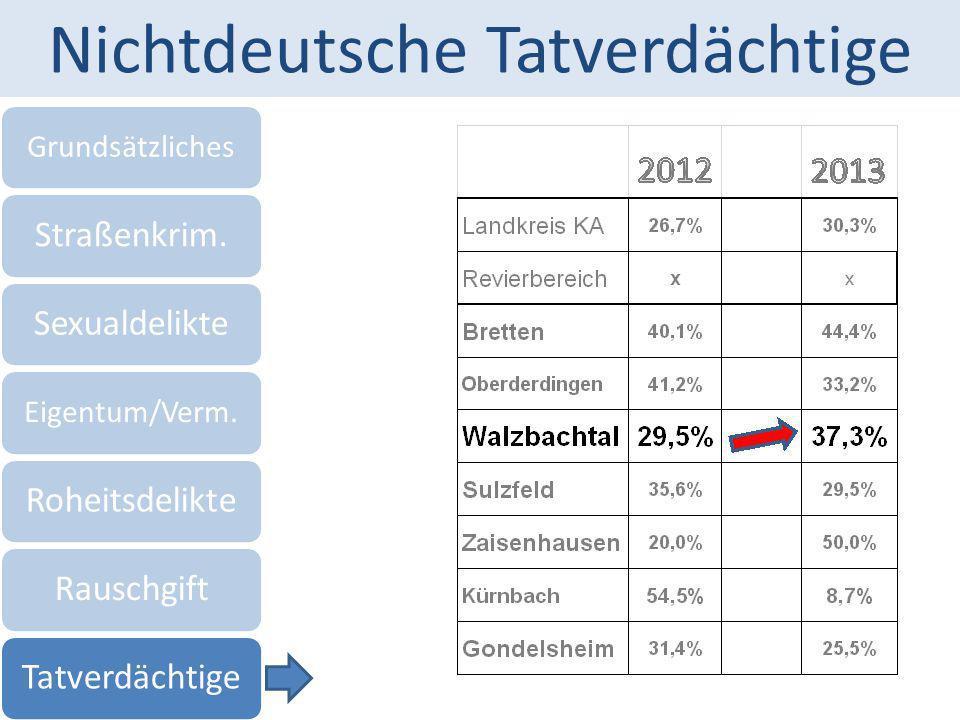 Nichtdeutsche Tatverdächtige Grundsätzliches Straßenkrim.Sexualdelikte Eigentum/Verm. RoheitsdelikteRauschgiftTatverdächtige