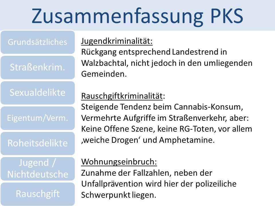 Zusammenfassung PKS Grundsätzliches Straßenkrim.Sexualdelikte Eigentum/Verm. Roheitsdelikte Jugend / Nichtdeutsche Rauschgift Jugendkriminalität: Rück