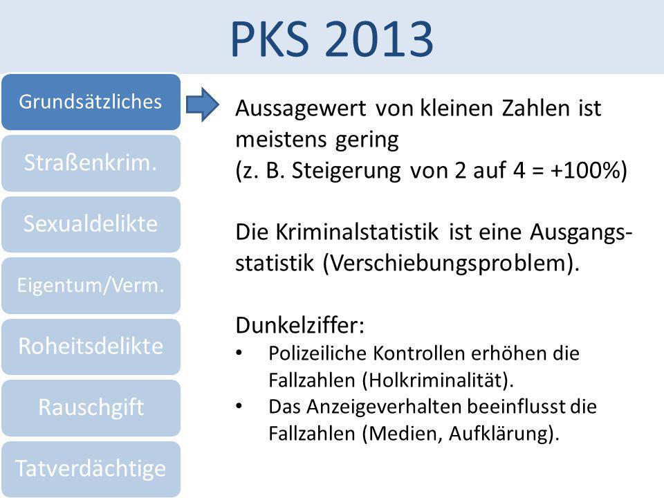 PKS 2013 Grundsätzliches Straßenkrim.Sexualdelikte Eigentum/Verm. RoheitsdelikteRauschgiftTatverdächtige Aussagewert von kleinen Zahlen ist meistens g