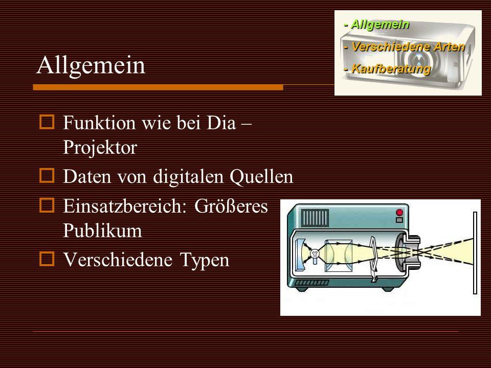 Allgemein  Funktion wie bei Dia – Projektor  Daten von digitalen Quellen  Einsatzbereich: Größeres Publikum  Verschiedene Typen - Allgemein - Verschiedene Arten - Kaufberatung