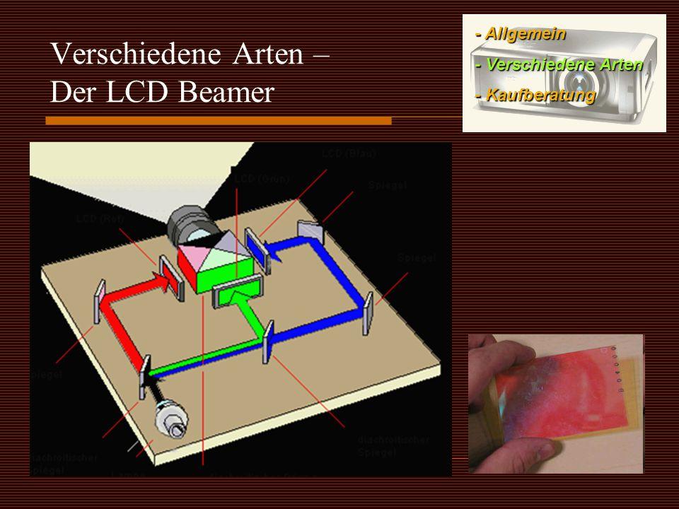 Verschiedene Arten – Der LCD Beamer - Allgemein - Verschiedene Arten - Kaufberatung