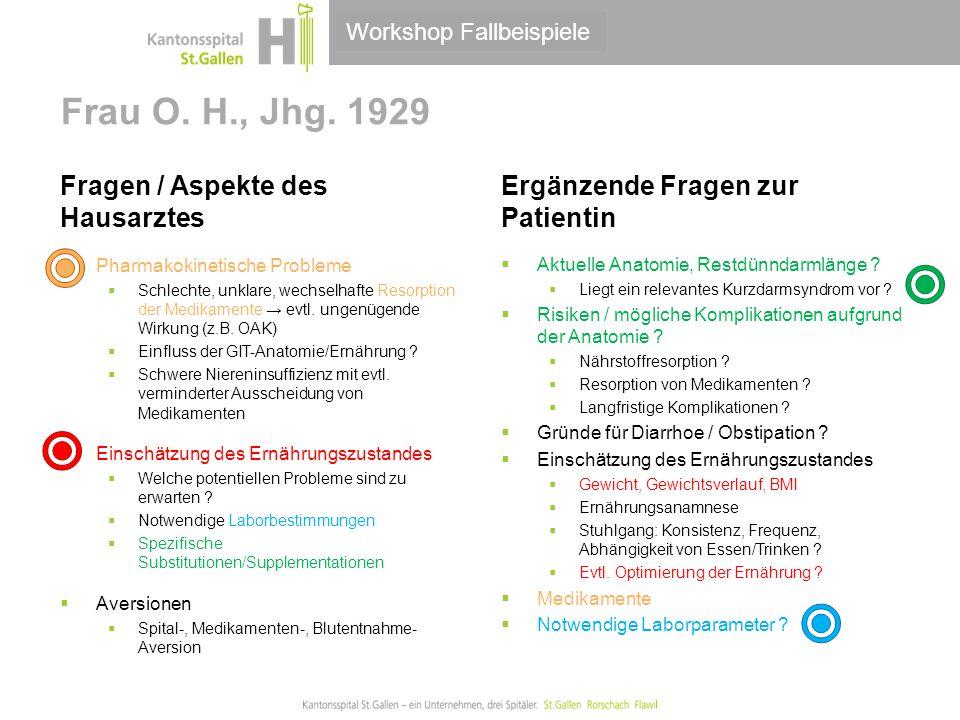 Thema/Bereich/Anlass Frau O. H., Jhg. 1929 Fragen / Aspekte des Hausarztes  Pharmakokinetische Probleme  Schlechte, unklare, wechselhafte Resorption
