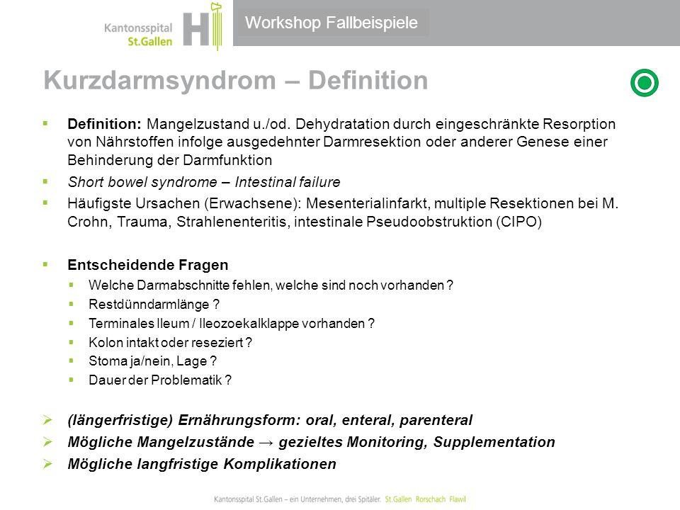 Thema/Bereich/Anlass Kurzdarmsyndrom – Definition  Definition: Mangelzustand u./od. Dehydratation durch eingeschränkte Resorption von Nährstoffen inf