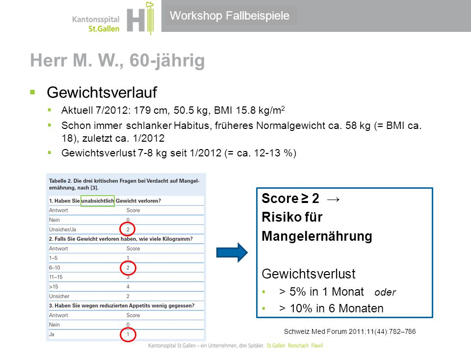 Thema/Bereich/Anlass Herr M. W., 60-jährig  Gewichtsverlauf  Aktuell 7/2012: 179 cm, 50.5 kg, BMI 15.8 kg/m 2  Schon immer schlanker Habitus, frühe