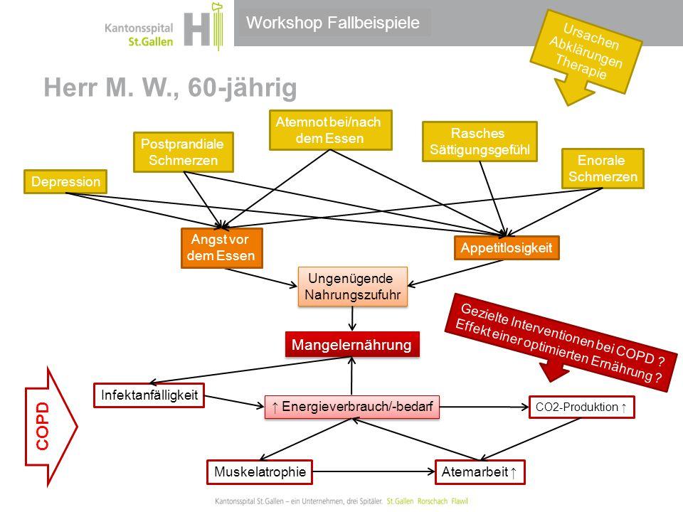 Thema/Bereich/Anlass Herr M. W., 60-jährig ↑ Energieverbrauch/-bedarf Rasches Sättigungsgefühl Postprandiale Schmerzen Atemnot bei/nach dem Essen Enor