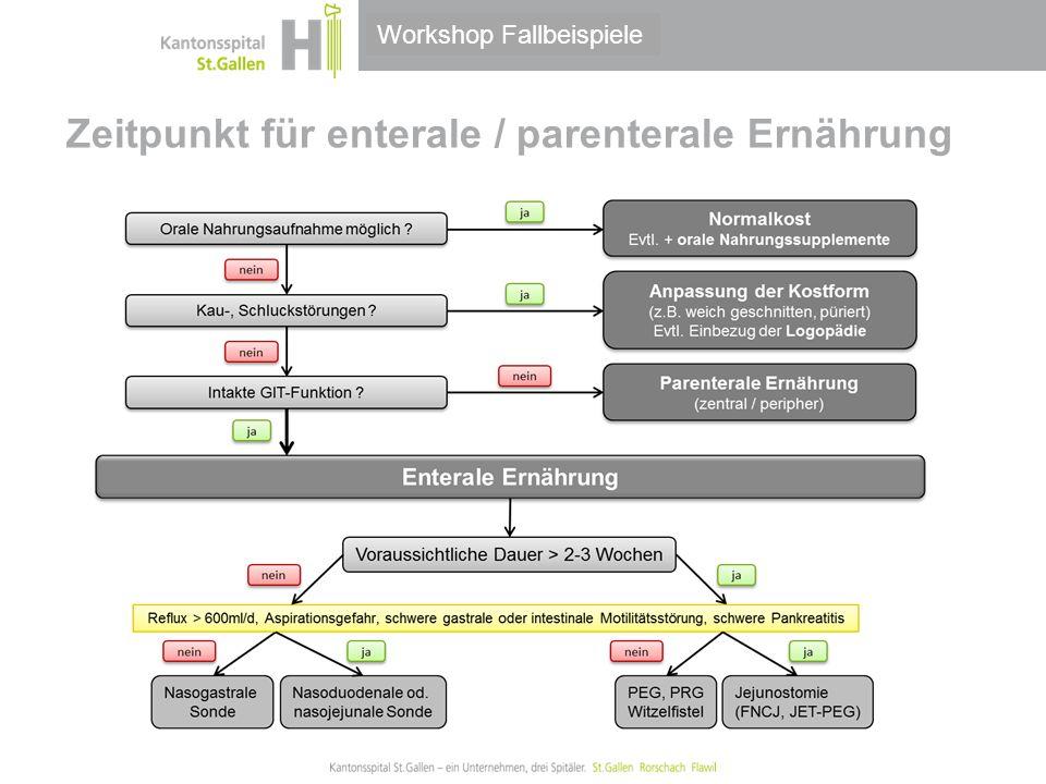Thema/Bereich/Anlass Zeitpunkt für enterale / parenterale Ernährung Workshop Fallbeispiele